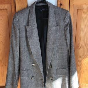 Zara longline wool check blazer size M